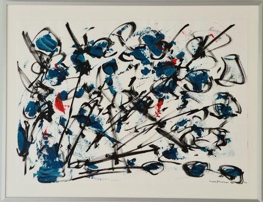 Titel: Roadmap, oil and acryl on paper. 67 x 52 cm. Maart 2021. Prijs € 350,-.