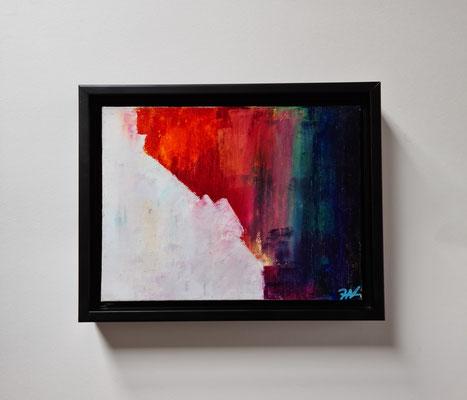 Titel: Hiding the colours, Oil on Carton, 24 x 18 cm. Augustus 2020. Prijs € 120,-