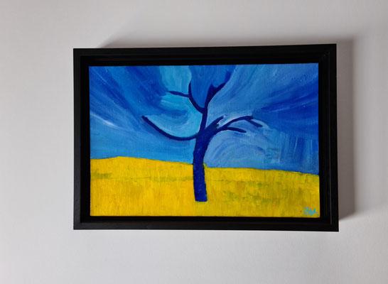 Titel: Noteboom, Oil on Carton, 20 x 30 cm. Juli 2020. Prijs € 150,-