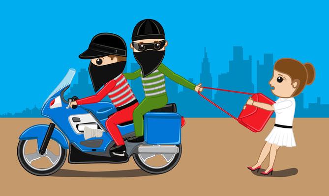 Handtaschenraub vom Motorrad aus kann Laos in und Südostasien vorkommen.