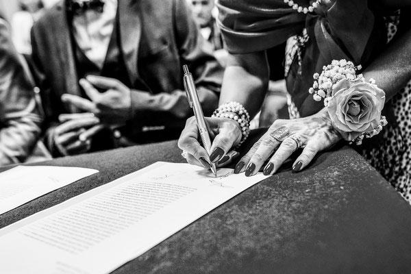 signature des registres de mariages