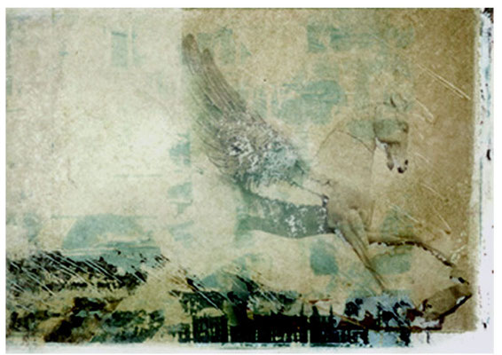 PEGASUS, 1996, Polaroid-Imagetransfer auf Aquarellpapier, 18x24cm