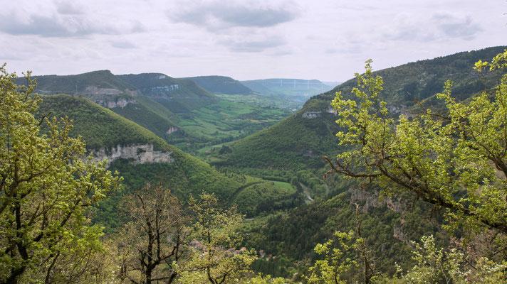 gorges-de-la-dourbie-depuis-le-site-du-boffi-causse-noir-au-fond-le-viaduc-de-millau-à-proximite-du-gite-d'-exception-en-aveyron-le-colombier-saint-veran-credit-photo-mcg