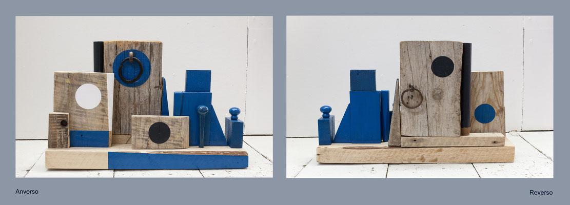 Composición nº 1  Madera, metal y acrílico ( 50 x 35 x 15 cm ) 2017