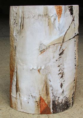 carton arrondi, technique mixte, hauteur 45 cm