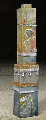 tour, carton, tissu, acrylique - hauteur 91 cm