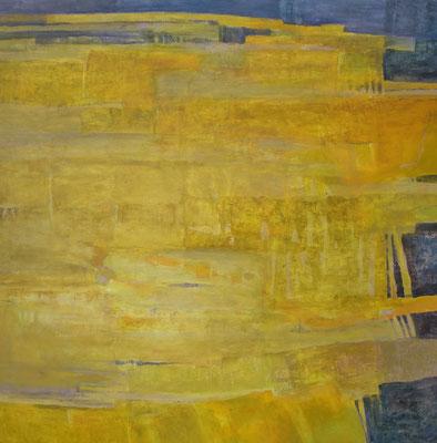 paysage jaune  - huile 90 x  90