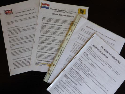 Livrets d'accueil en français, anglais et néerlandais