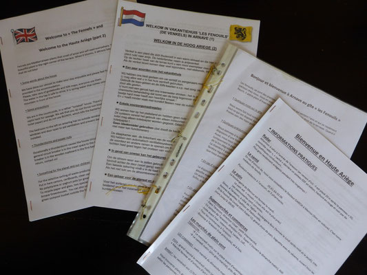 Booklets in french, English and Dutch