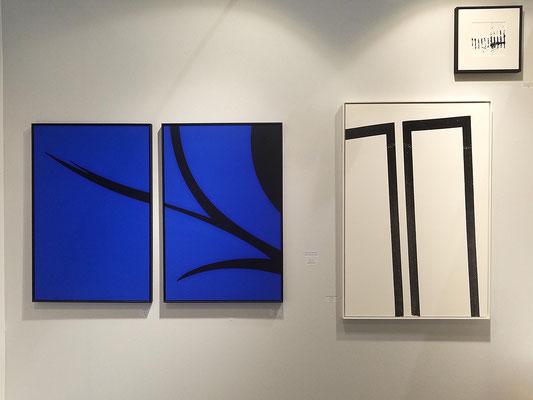 Diptyque Blue field, 60x90 cm X2 - Structure noire sur fond blanc, 72,5x109 cm