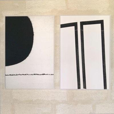 Darkness - Structure noire sur fond blanc, 72,5x109 cm chacune, Parcours de l'Art, Avignon 2016.