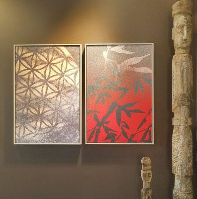 Rosa, rosae - Délicieux était l'ombrage, 40x60 cm chacune, Galerie RetouR De Voyage mai 2019