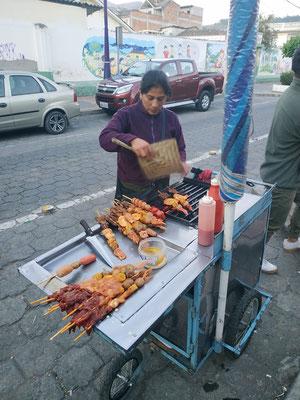 Brochette de viande (poulet et boeuf) dans la rue, un régal !!