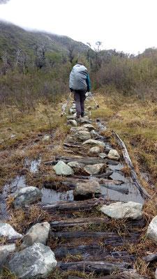 La encore ça va, y'a des cailloux et du bois pour pas qu'on patauge dans la boue mais ce n'est pas toujours le cas !