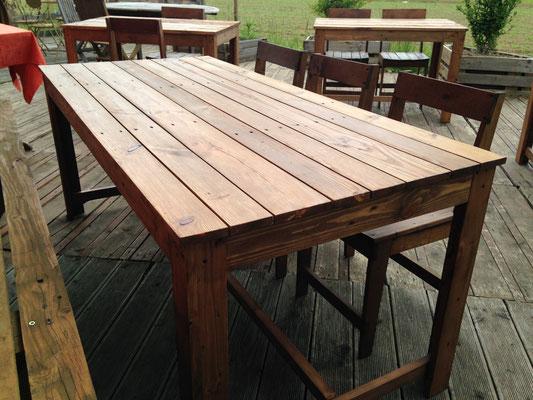 """Tables et chaises en bois de palette pour le restaurant """"Biodôme"""" d'Hegenheim"""