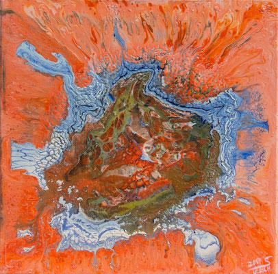 The big splash - Fluid Painting, 50x50 cm, 2017, S. Ulrich