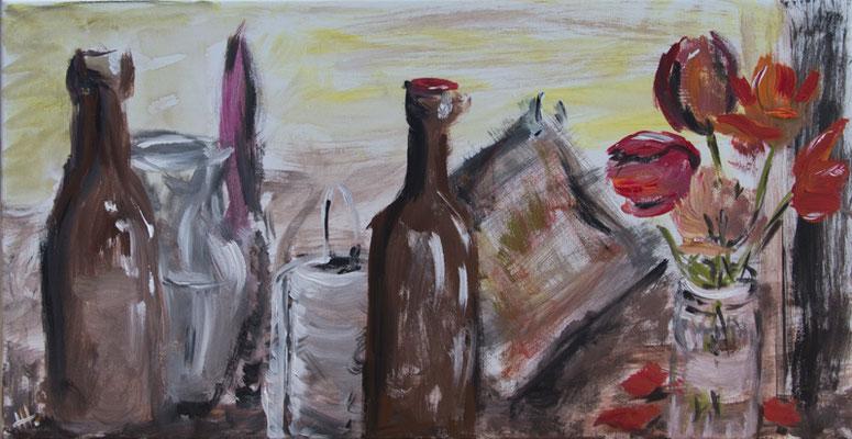 Rote Tulpen - Acryl auf Leinwand, 93x48 cm, 2017, H. Halbritter