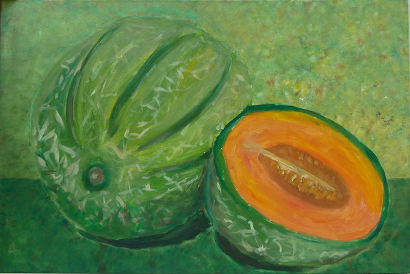Melonen im Grünen  - Acryl auf Leinwand, 90x60 cm, 2010 - A. Bellaire - VERKAUFT!