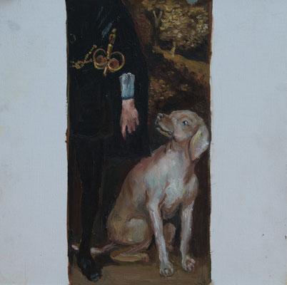 Hund - Öl auf Malplatte, 36x36 cm, 2016, M. Kaltenböck