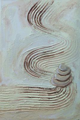 Zen - Acryl auf Leinwand, Mischtechnik, 40x60 cm, 2015 - U. Schachner - VERKAUFT!