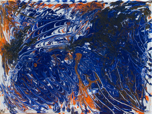 In the blue - Fluid Painting, 40x30 cm, 2017, M. Weber