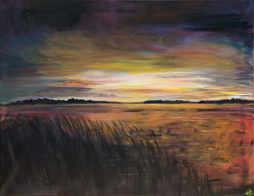 Abendlied - Acryl auf Leinwand, 90x70 cm, 2018, Heidemarie Halbritter