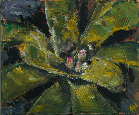 Bromelie - Acryl auf Leinwand, 60x50 cm, 2014 - H. Halbritter - VERKAUFT!