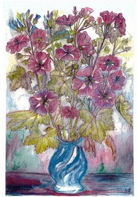 Vase mit Malven - Zeichnung koloriert, 20x30 cm, 2013 - A. Kästner - VERKAUFT!