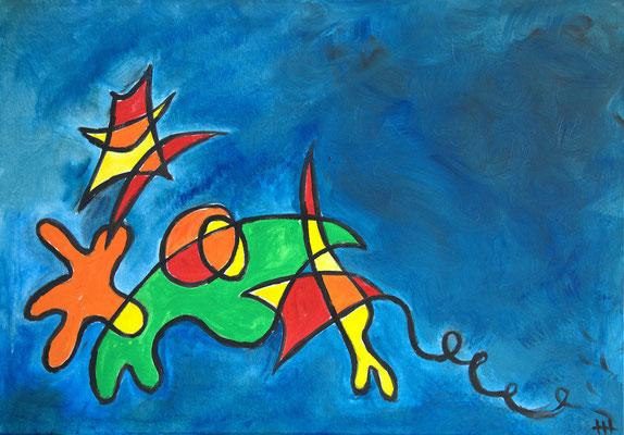 Hommage an Miró - Acryl auf Leinwand, 100x70 cm, 2015 - H. Halbritter - VERKAUFT!