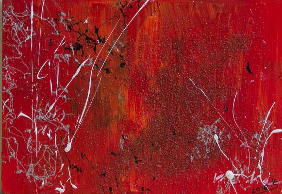 Paprika - Acryl auf Leinwand, Mischtechnik, 30x21 cm, 2018, U. Schachner