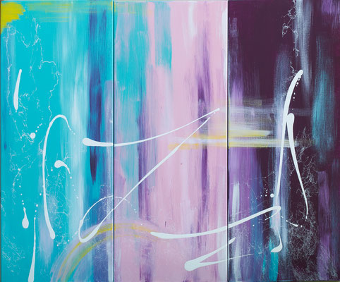 Dreiklang - Acryl auf Leinwand, 3x40x100, 2017, U. Schachner