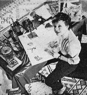 """En 1956, Cécile Aubry dessine dans son """"atelier sous les toits"""""""
