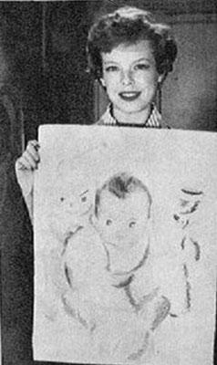 """En 1956, Cécile Aubry dessine son fils Mehdi entouré de sa """"ménagerie bigarée de peluche"""""""