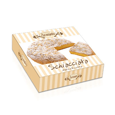 Schiacciata traditional soft flat cake covered with amaretto frosting, sliced almonds and icing sugar (500g)