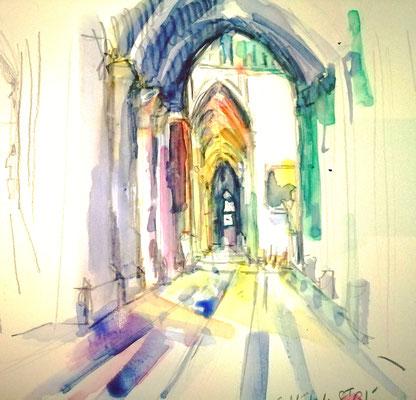 severine saint-maurice, lescerclesdelumiere.com, aquarelle de severine saint-maurice, la cathedrale saint-gatien