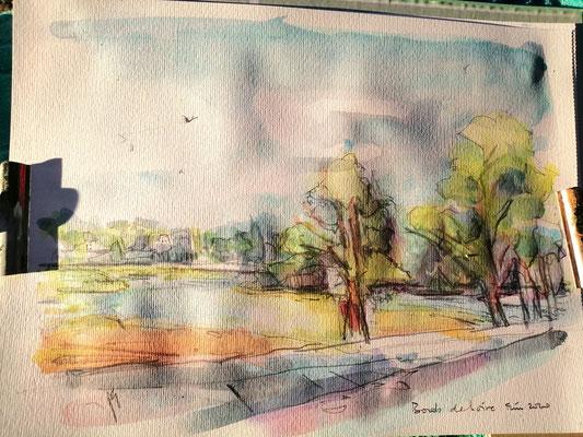 severine saint-maurice, lescerclesdelumiere.com, aquarelle de severine saint-maurice, le pont wilson