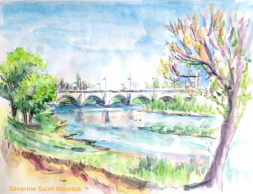 severine saint-maurice, lescerclesdelumiere.com, aquarelle de severine saint-maurice, bord de loire, pont wilson