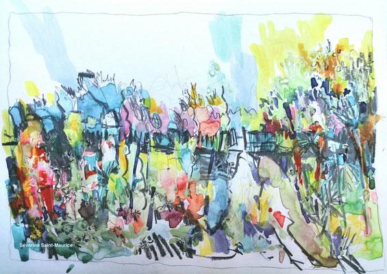 severine saint-maurice, lescerclesdelumiere.com, aquarelle de severine saint-maurice, jardin de la bergeonerie, jardin potager