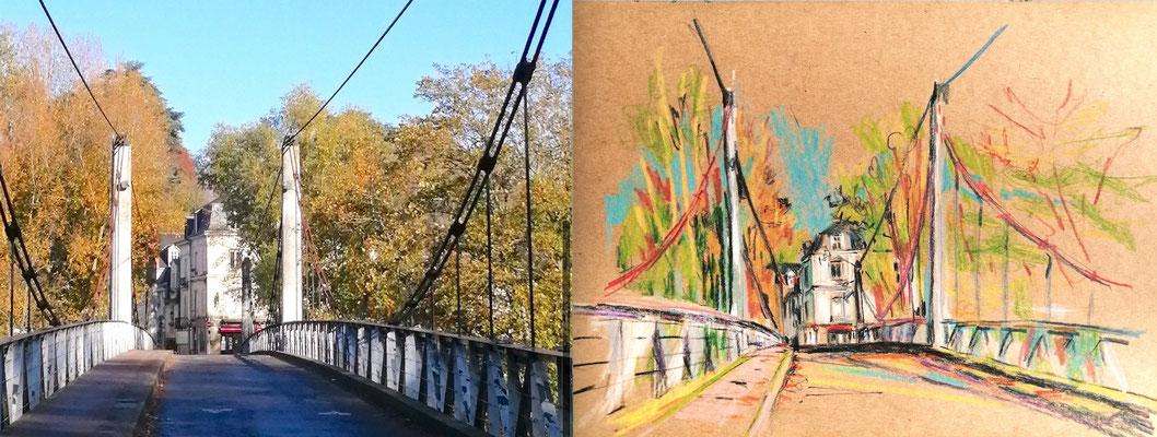le pont de fil, Tours, peinture de Séverine Saint-Maurice, lescerclesdelumiere.com
