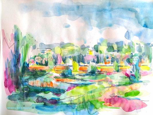 severine saint-maurice, lescerclesdelumiere.com, aquarelle de severine saint-maurice, ile de la métaierie, bord de loire