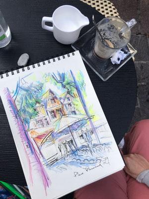 severine saint-maurice, lescerclesdelumiere.com, aquarelle de severine saint-maurice, place plumereau, tours