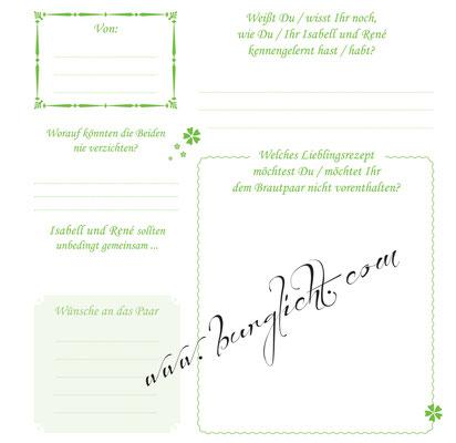 Gestalten Sie Ihren eigenen Fragebogen für Ihr individuelles Hochzeitsgästebuch