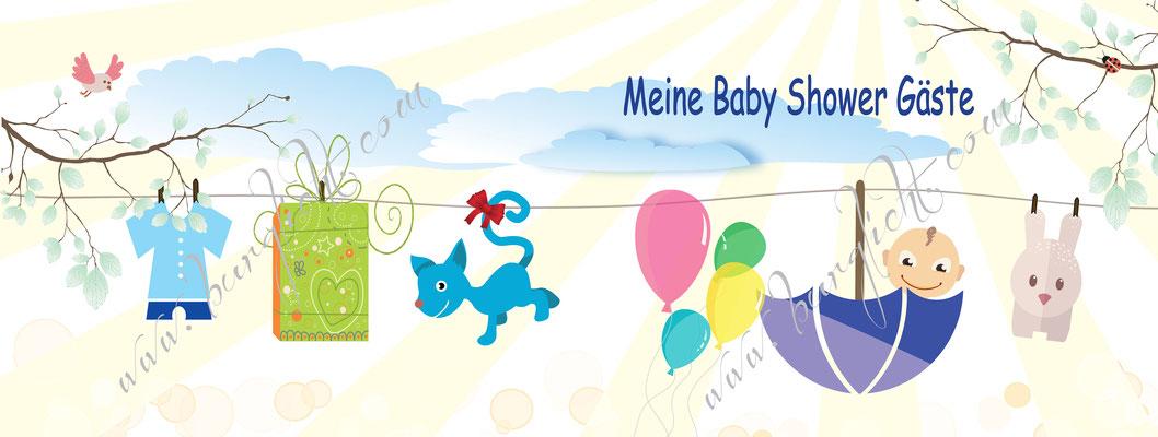 Personalisiertes Layout zum bedrucken des Vorsatzpapieres im Gästebuch Babyshower