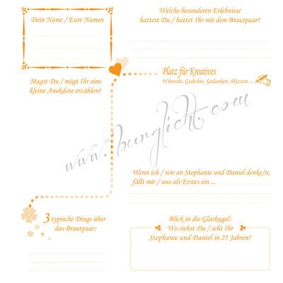 Hochzeitsgästebuch mit Gästefragen in jedem Format und Stil.