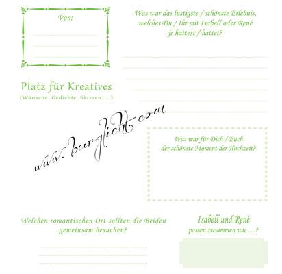Hochzeitsgästebuch mit Gästefragen - Ihr Unikatbuch.