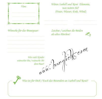Hochzeitsgästebuch mit Gästefragen in Ihren Hochzeitsfarben