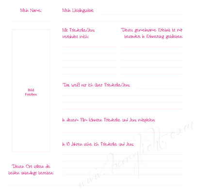 Ob schlicht oder verspielt - Gästebuch mit Gästefragen in Ihrem Wunschdesign
