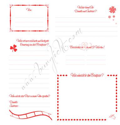 Gästebuch-Steckbriefe zur Hochzeit in Ihren Hochzeitsfarben