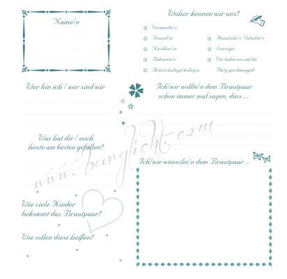 Gästebuch mit Gästefragen nach Kundenvorgaben