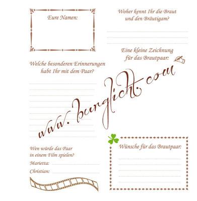 Personalisierbarer Fragebogen für ein Gästebuch zur Hochzeit